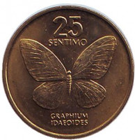 Бабочка. Монета 25 сентимо. 1992 год, Филиппины. UNC.