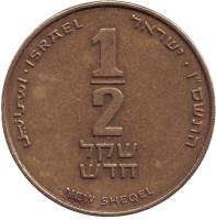 Монета 1/2 нового шекеля. 2006 год, Израиль.