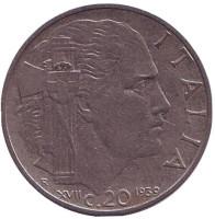 Виктор Эммануил III. Монета 20 чентезимо. 1939 год, Италия. (XVII)