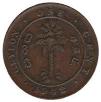 Монета 1 цент. 1942 год, Цейлон.