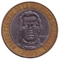 Франсиско дель Росарио. Монета 5 песо. 2005 год, Доминиканская Республика.