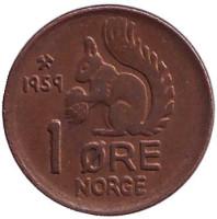 Белка. Монета 1 эре. 1959 год, Норвегия.