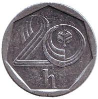 Монета 20 геллеров. 1993 год (b), Чехия.