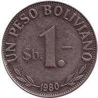 Монета 1 боливийский песо. 1980 год, Боливия.