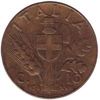 Монета 10 чентезимо. 1939 год, Италия. (Алюминиевая бронза)