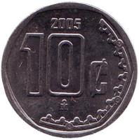 Монета 10 сентаво. 2005 год, Мексика.
