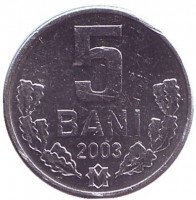 Монета 5 бани. 2003 год, Молдавия.