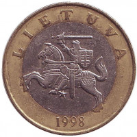 Рыцарь. Монета 2 лита. 1998 год, Литва. Из обращения.
