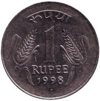 """Монета 1 рупия. 1998 год, Индия. (""""°"""" - Ноида)"""