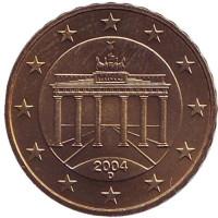 Монета 10 центов. 2004 год (D), Германия.