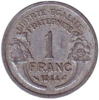 Монета 1 франк. 1944 год, Франция.