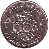 Плод хлебного дерева, стручки ванили. Монета 20 франков. 1992 год, Французская Полинезия.