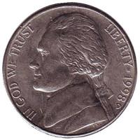 Джефферсон. Монтичелло. Монета 5 центов. 1998 год (D), США.