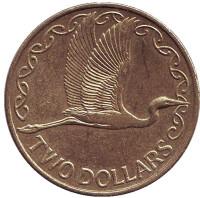 Белая цапля. Монета 2 доллара. 2011 год, Новая Зеландия.