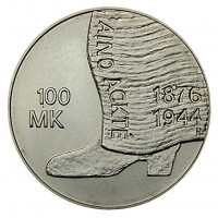 125 лет со дня рождения Айно Акте. Монета 100 марок. 2001 год, Финляндия.