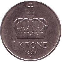 Корона. Монета 1 крона. 1981 год, Норвегия.