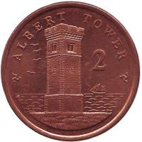 Башня Альберта. Монета 2 пенса. 2007 год (BA), Остров Мэн.