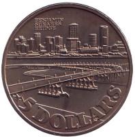 Мост Бенджамина Ширса. Монета 5 долларов. 1982 год, Сингапур.