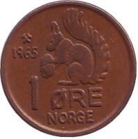 Белка. Монета 1 эре. 1965 год, Норвегия.