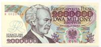 Игнаций Ян Падеревский. Банкнота 2000000 злотых. 1992 год, Польша.