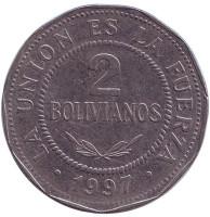 Монета 2 боливиано. 1997 год, Боливия.