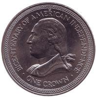 200 лет независимости Америки. Монета 1 крона. 1976 год, Остров Мэн.