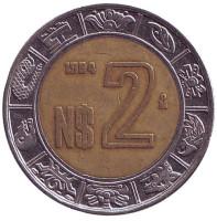Монета 2 песо. 1994 год, Мексика.