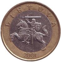 Рыцарь. Монета 2 лита. 2001 год, Литва. Из обращения.