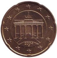 Монета 20 центов. 2004 год (D), Германия.
