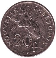 Быки. Монета 20 франков. 1983 год, Новая Каледония.