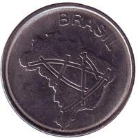 Карта Бразилии. Монета 10 крузейро. 1985 год, Бразилия.
