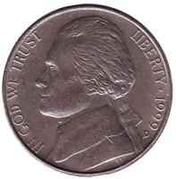 Джефферсон. Монтичелло. Монета 5 центов. 1999 год (D), США.