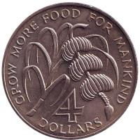 ФАО. Бананы. Монета 4 доллара. 1970 год, Сент-Китс и Невис.