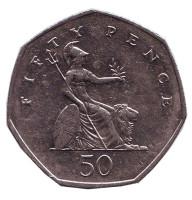 Монета 50 пенсов. 2002 год, Великобритания.