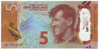 Сэр Эдмунд Хиллари. Пингвин. Банкнота 5 долларов. 2015 год, Новая Зеландия.