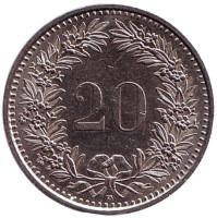 Монета 20 раппенов. 1995 год, Швейцария.