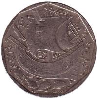 Парусник. Монета 50 эскудо. 1991 год, Португалия.