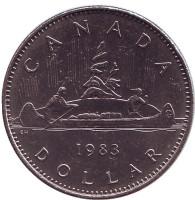 Индейцы в каноэ. Монета 1 доллар. 1983 год, Канада. Из обращения.