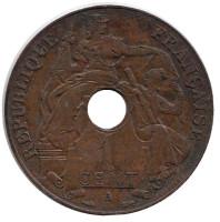 Монета 1 цент. 1937 год (A), Французский Индокитай.