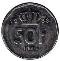 Монета 50 франков. 1988 год, Люксембург.
