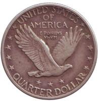 Монета 25 центов. 1917 год (D), США. (Три звезды ниже орла)