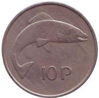 Лосось. Монета 10 пенсов. 1971 год, Ирландия.