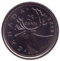 Канадский олень (Карибу). Монета 25 центов. 2018 год, Канада.