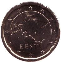 Монета 20 центов. 2017 год, Эстония.