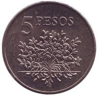 Растение. Монета 5 песо. 1977 год, Гвинея-Бисау.