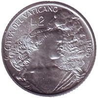 Шепард с овцой на плечах. Папа Павел VI. Монета 2 лиры. 1966 год, Ватикан.