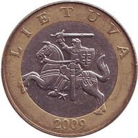 Рыцарь. Монета 2 лита. 2009 год, Литва. Из обращения.