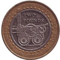 200 лет первому паровозу Ричарда Тревитика. Монета 2 фунта. 2004 год, Великобритания.