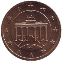 Монета 50 центов. 2004 год (D), Германия.