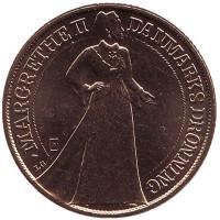 25 лет правлению Королевы. Монета 20 крон. 1997 год, Дания. aUNC.
